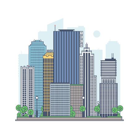 Modern metropolis. Quarter of a modern city. Illustration