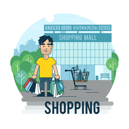 illustrating: A man makes a purchase. Banner in the flat style illustrating the process of buying. Illustration
