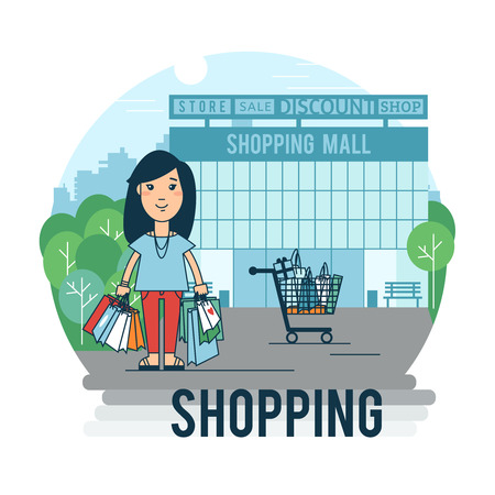 illustrating: A woman makes a purchase. Banner in the flat style illustrating the process of buying. Illustration