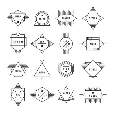 白黒の幾何学的なヴィンテージのラベル。文字の白背景セットに。  イラスト・ベクター素材
