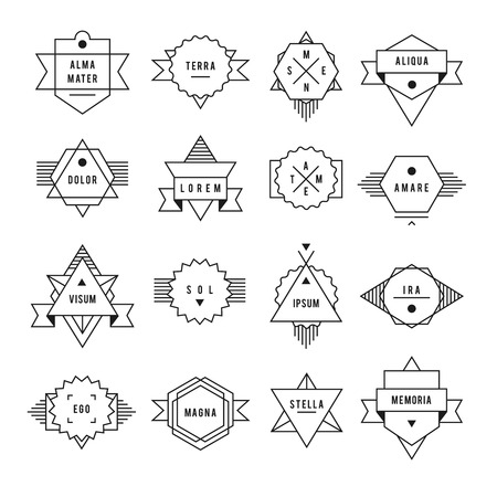 Monochrome geometric vintage label. On a white background set of characters. Vector