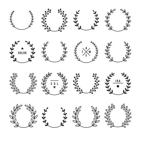 Set of laurel wreaths. Big set of elements on a white background. Vector