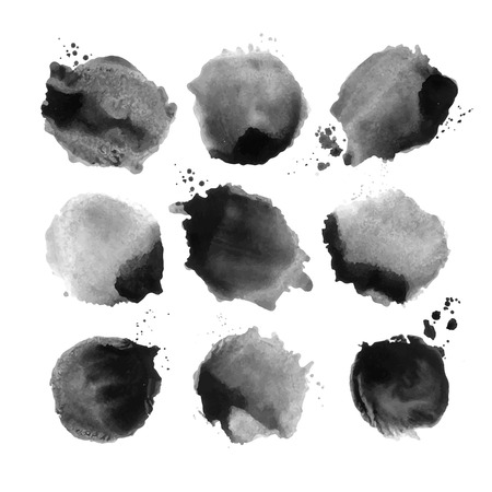 Set of black vector watercolor stain. Ink stains. Vectores