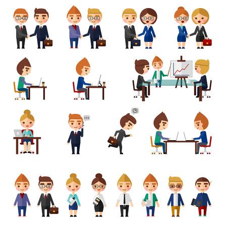 Bedrijfsbureau mensen stellen. Mensen in verschillende office situaties. Vector Illustratie