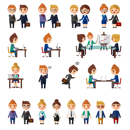 Business office people set. People in different office situations. Vector
