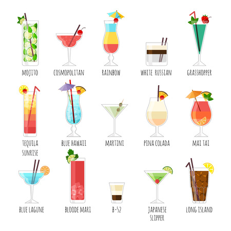 Set of illustrations club cocktails. On a white background with the names. Illusztráció