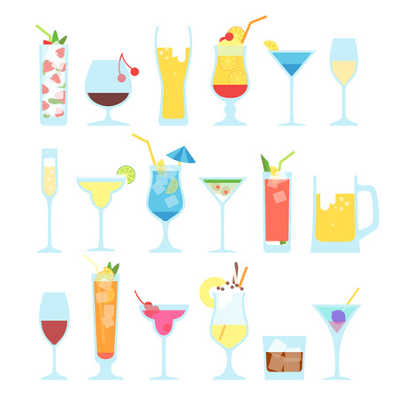 daiquiri: Set of different alcoholic cocktails. Summer cocktails on a white background. Illustration