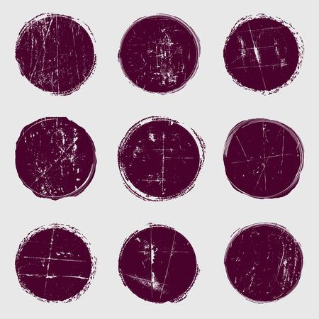 グランジのサークル ベクトルを設定します。傷のテクスチャの上に重ね円。