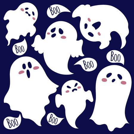 El fantasma más amable. Scary fantasmas dibujados en estilo de dibujos animados. Foto de archivo - 39075545