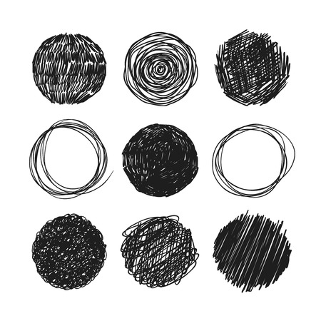Abstract chaotic round sketch. Circles scrawled in pencil on a white background. Vector