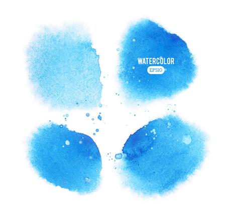 青いベクトル水彩汚れのセットです。白の背景の個々 の要素を実行します。