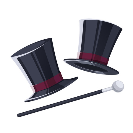 Top hat with a cane. Vintage hat with a cane on white background. Vector