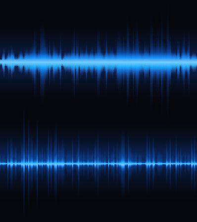 vibrations: Digital equalizer painted dots on a dark background. Illustration