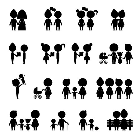 situations: Silhouettes people set. Silhouette people in everyday situations.