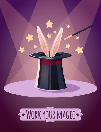 props: Magic top hat with rabbit. Props magician.