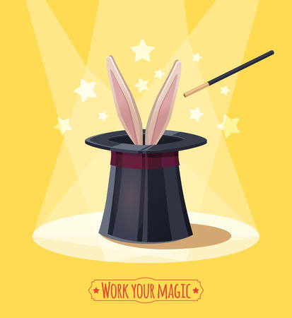 Magische hoge hoed met konijn. Props goochelaar. Stock Illustratie