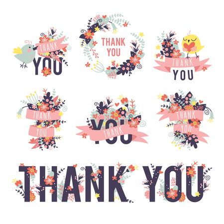 春のありがとうを設定します。色は、碑文をありがとうございます。