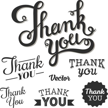 Thank you lettering by hand. On a white background.