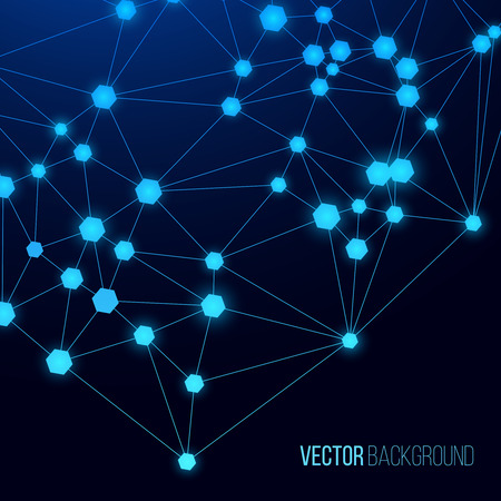 Internet web background. Glowing cellular connection on a blue background. Illustration