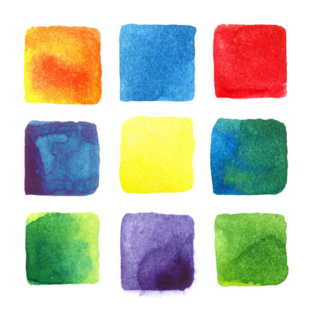 Colored squares. Watercolor drawings by hand.