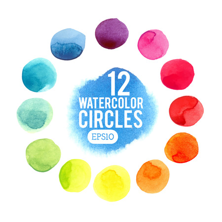 Watercolor vector circles. Watercolor drawings by hand. Illusztráció