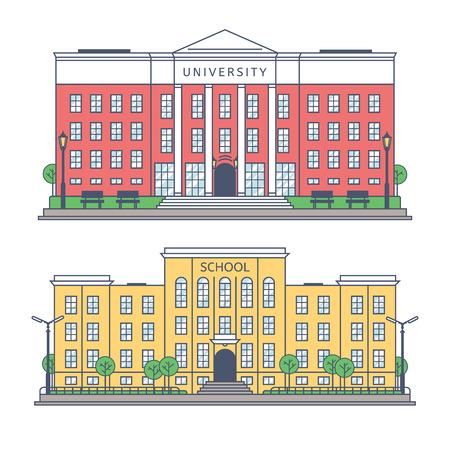 大学および学校正面の建物。個々 の建物の図面。