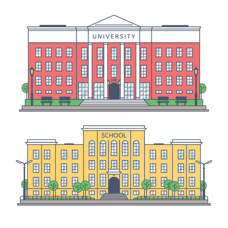 The building of the University and the school front. Drawings of individual buildings.