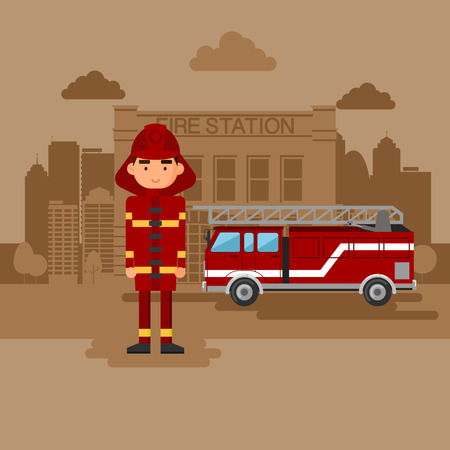 Fireman: Concept on the subject of the fire station. Fire station with a car and a fireman.