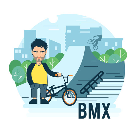 skate park: Skate park vector illustration. The guy with the BMX bike for use in promotion.