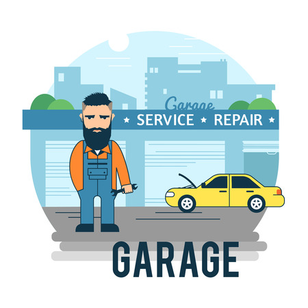 auto repair: Automotive master is waiting for the client. Car service concept. Illustration