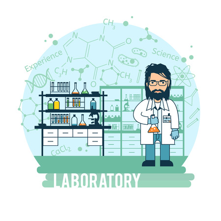 Scientist in laboratory experiments were conducted. Bearded scientist is experimenting. Illustration