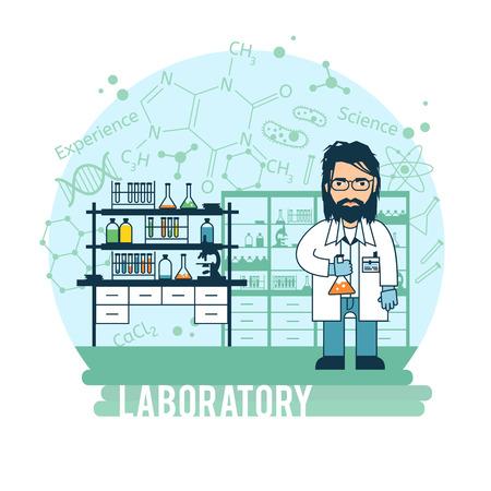 Wetenschapper in laboratorium experimenten werden uitgevoerd. Bebaarde wetenschapper experimenteert.