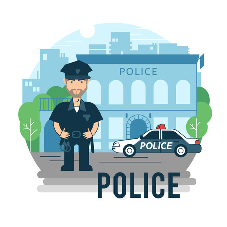police badge: Concept policeman at work. Bearded police in cartoon style. Illustration