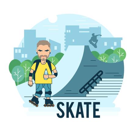 extremal: The guy on roller skates in the park. Bearded roller.