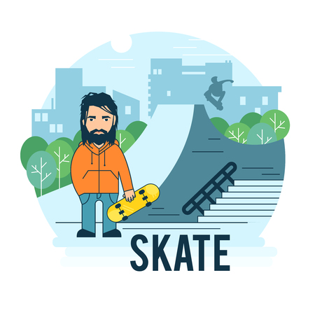skate park: Skate park. The guy with the skate for use in promotion.