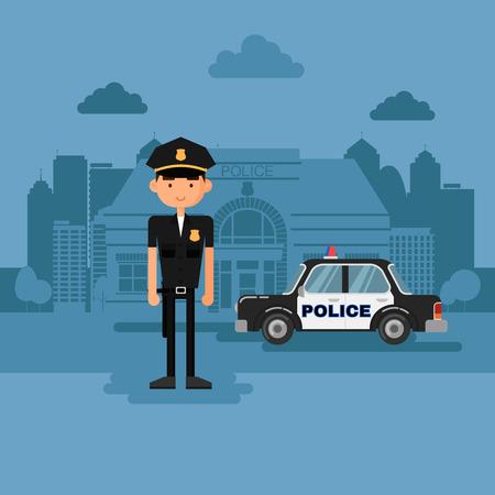 gorra policía: Concepto policía en el trabajo. La policía en el estilo de dibujos animados. Vectores