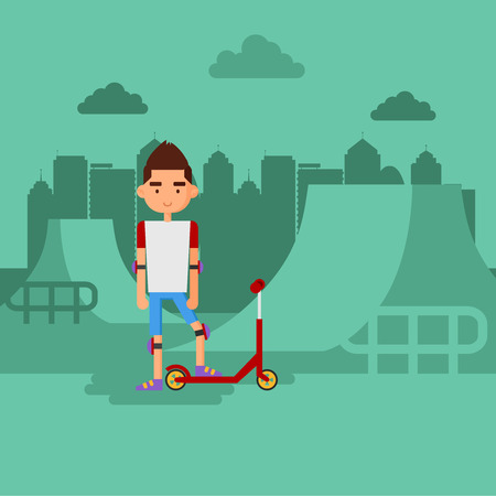 skate park: Boy on scooter in a park. Stay at the skate Park. Illustration