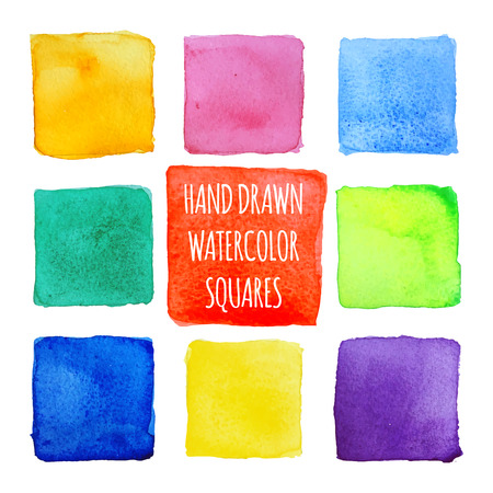 The squares of watercolor. Multicolored on white background, hand-made.