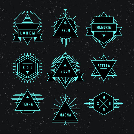 Geometric vintage label. On a white dark set of characters. Vector