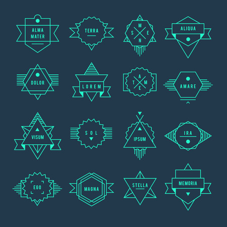 Geometric vintage label. On a white grey set of characters. Vector