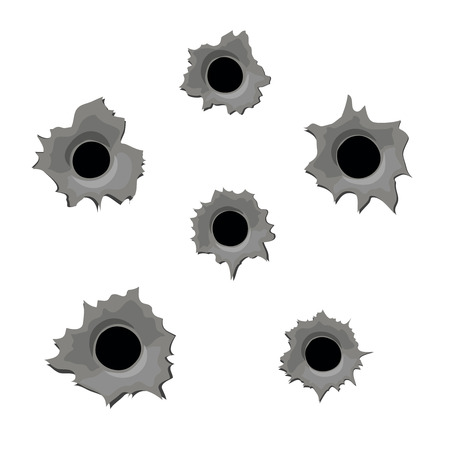 torned: Damage from bullets. Bullet holes in metal.