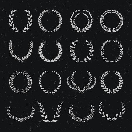 oak wreath: Set of laurel wreaths. Big set of elements on a black background.