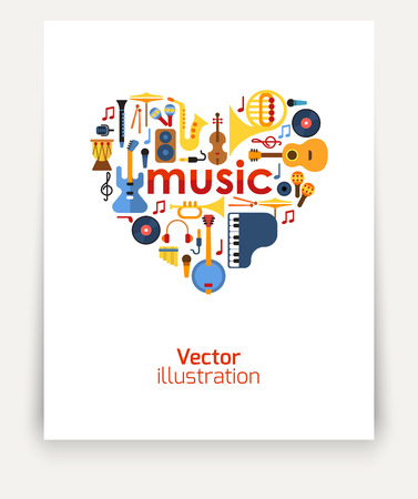 Music in the heart. Set of musical instruments laid out in the shape of a heart. Vector