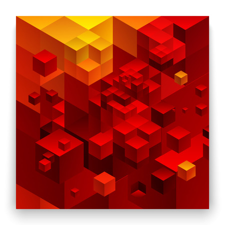 Cubic abstract background. Red background fantastic looking. Vector