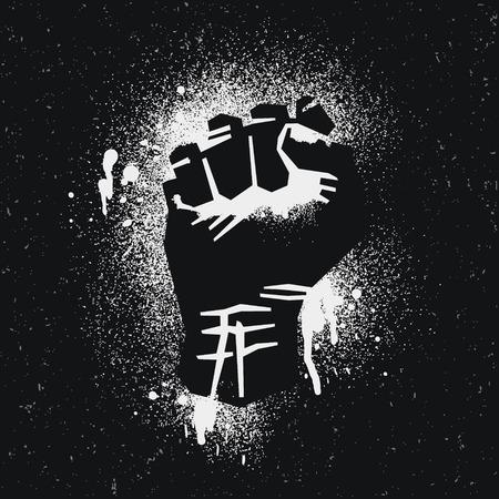 arte callejero: Logo protestado Negro. Protesta en el estilo de arte de la calle.