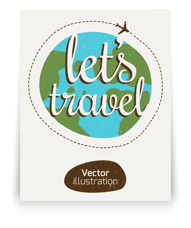 lets: Lets go travel. Sloppy hand-drawn color logo. Illustration