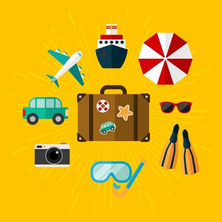 sun tanning: Set of illustrations on vacation. On a yellow background.
