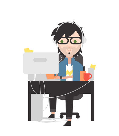 administrator: System administrator. Computer genius at his workplace. Illustration
