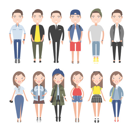 campus: Girls and boys in casual clothes set. On a white background individual figures.