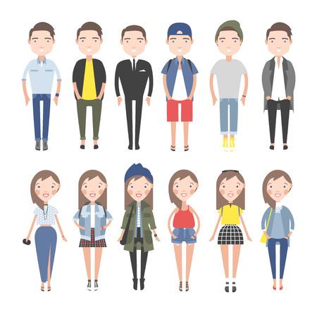Meisjes en jongens in casual kleding set. Op een witte achtergrond individuele cijfers.